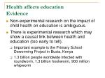 health affects education evidence
