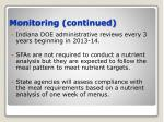 monitoring continued