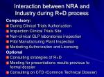 interaction between nra and industry during r d process