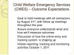 child welfare emergency services cwes outcome expectations