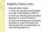 eligibility criteria cont
