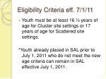 eligibility criteria eff 7 1 11