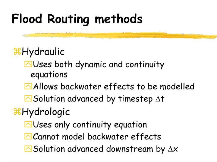 flood routing by the muskingum method essay Muskingum routing the muskingum routing unit models the flow of water in natural and man-made open channels using the muskingum method to route the flow the muskingum routing calculates the discharge within a river or channel reach given the inflow hydrograph at the upstream end.