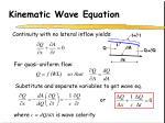 kinematic wave equation