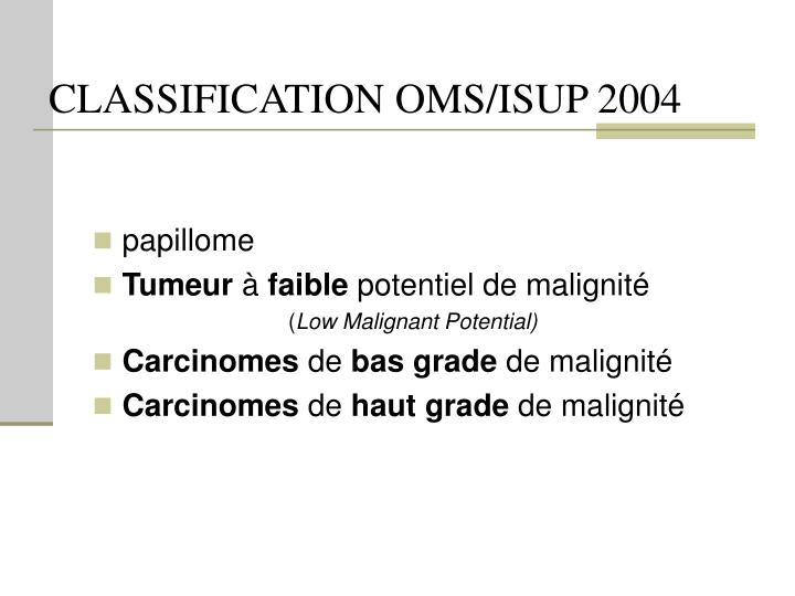 Classification oms isup 2004