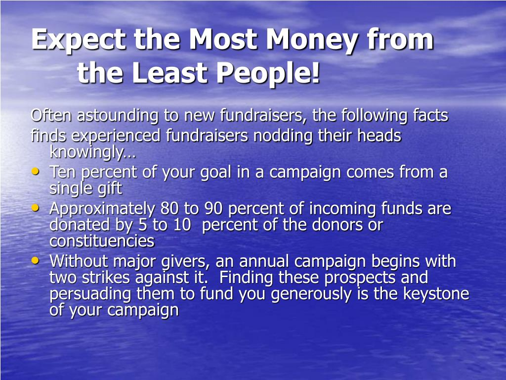 Expect the Most Money from the Least People!