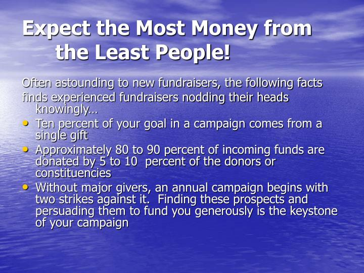 Expect the most money from the least people