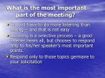 what is the most important part of the meeting