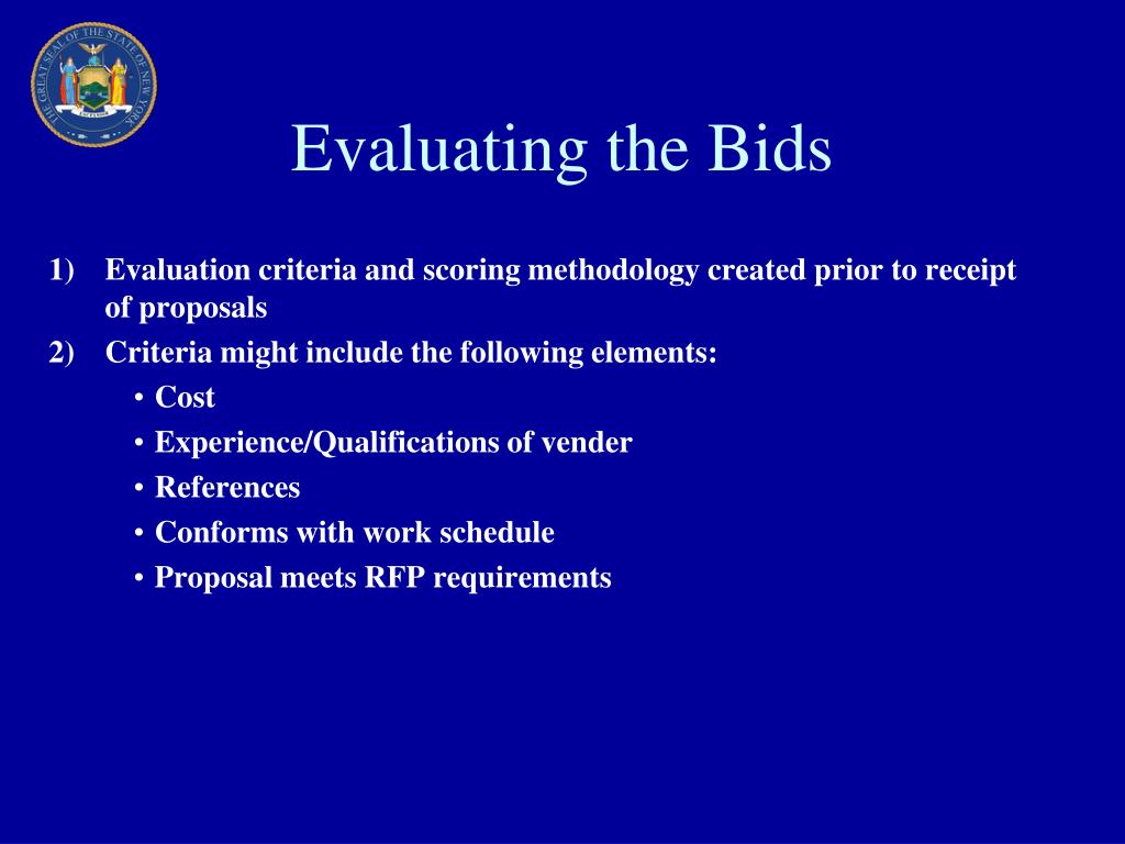 Evaluating the Bids