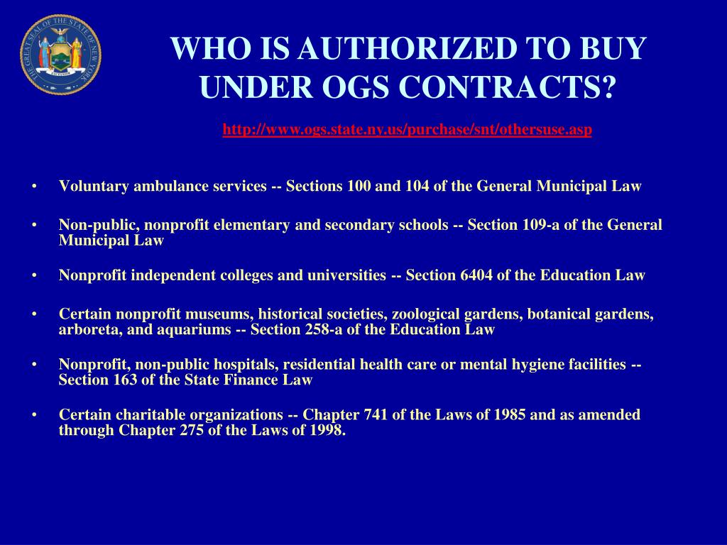WHO IS AUTHORIZED TO BUY UNDER OGS CONTRACTS?