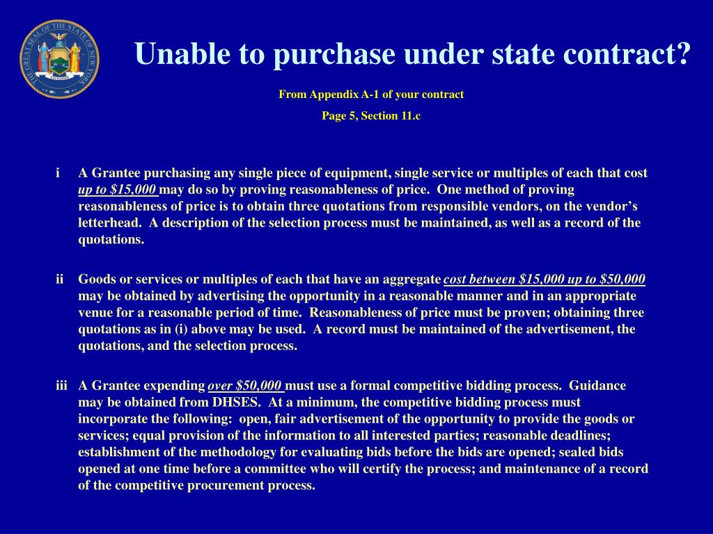 Unable to purchase under state contract?