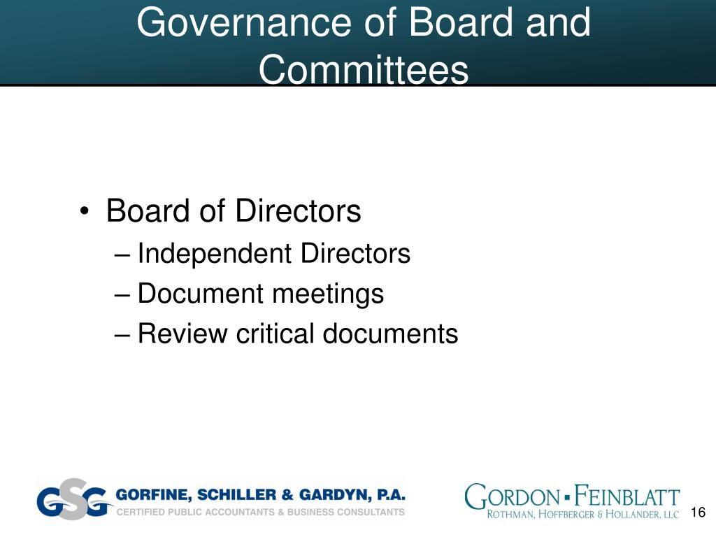 Governance of Board and Committees