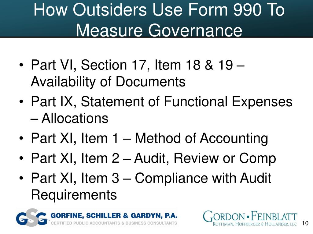How Outsiders Use Form 990 To Measure Governance