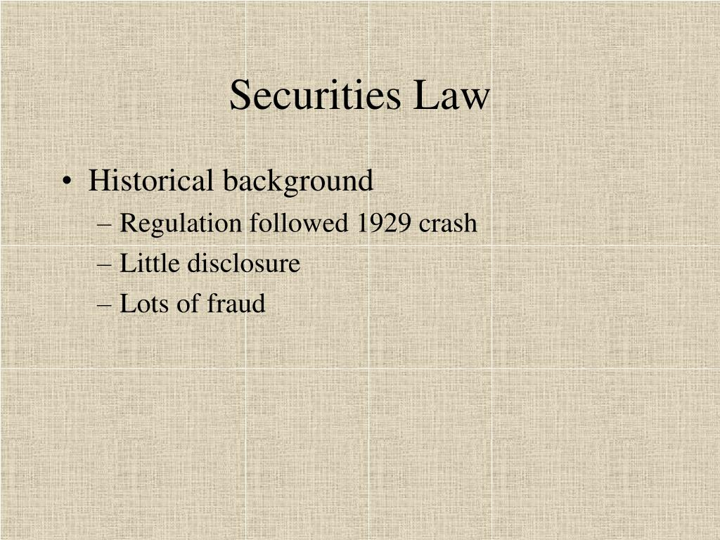 securities law l.