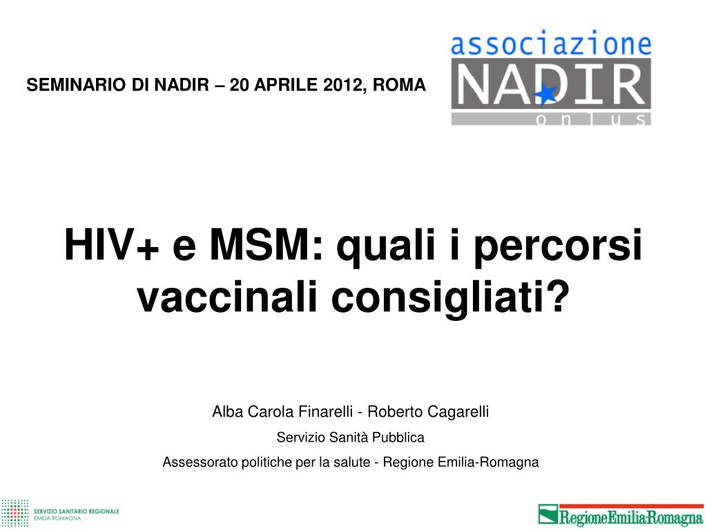 hiv e msm quali i percorsi vaccinali consigliati l.