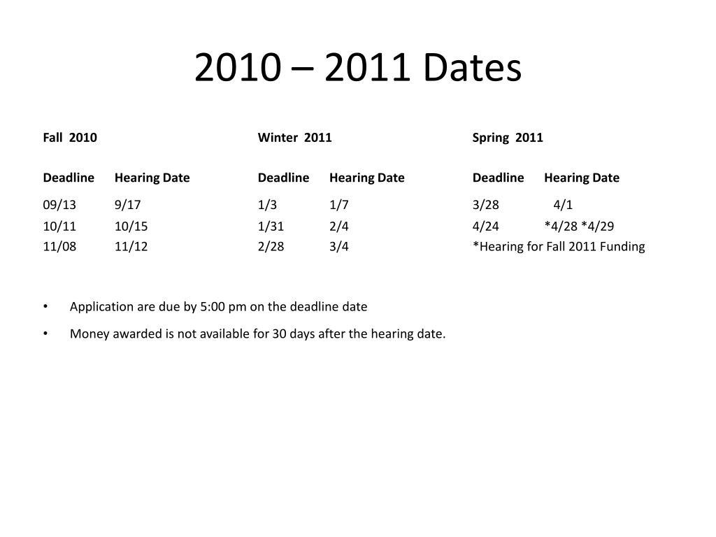 2010 – 2011 Dates