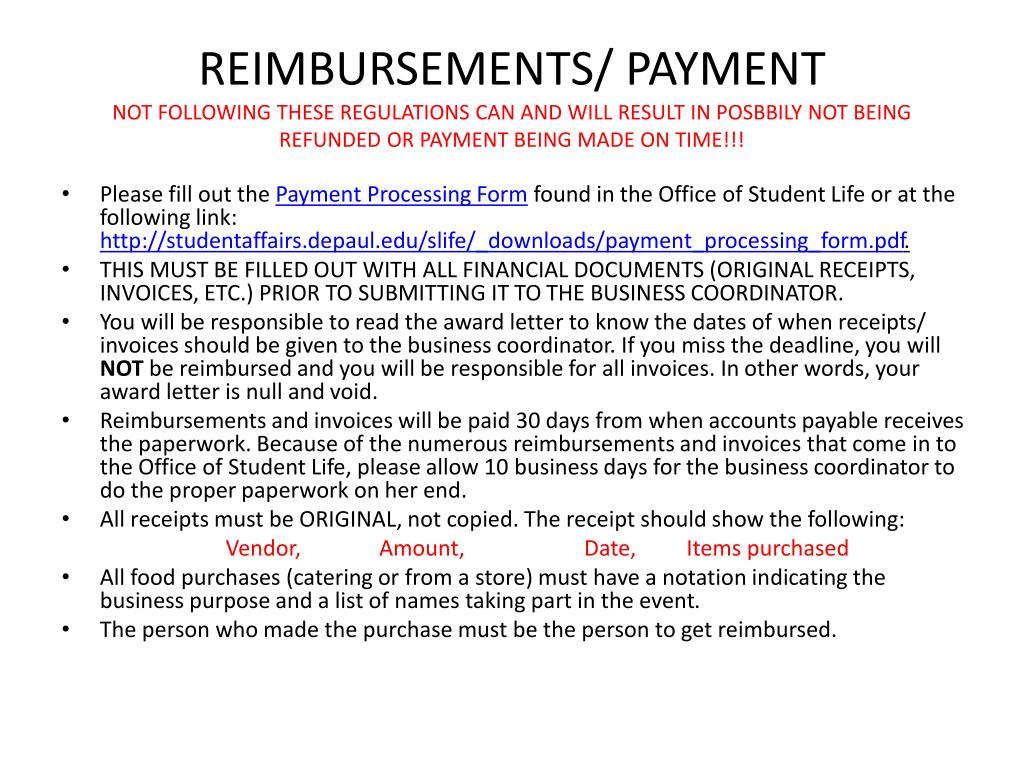 REIMBURSEMENTS/ PAYMENT