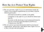 how the acts protect your rights