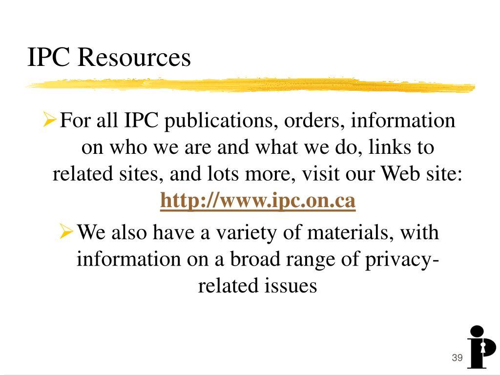 IPC Resources