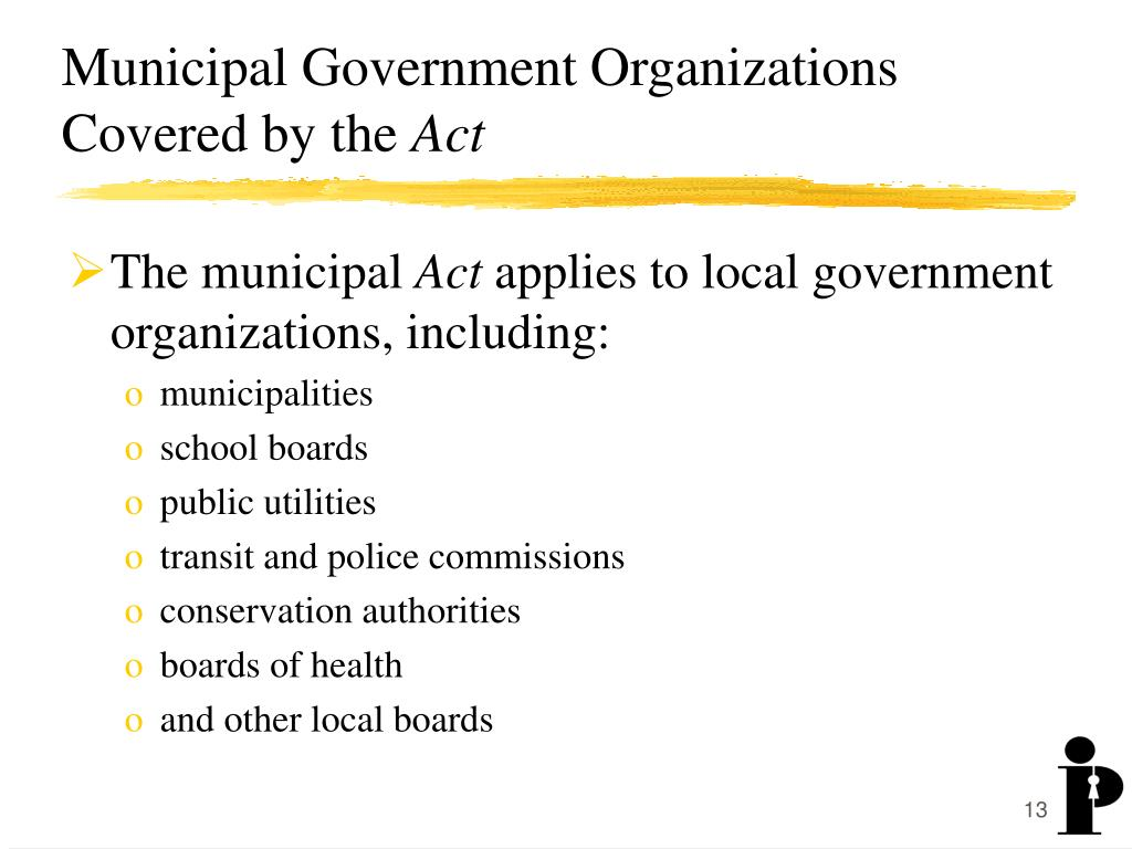 Municipal Government Organizations Covered by the