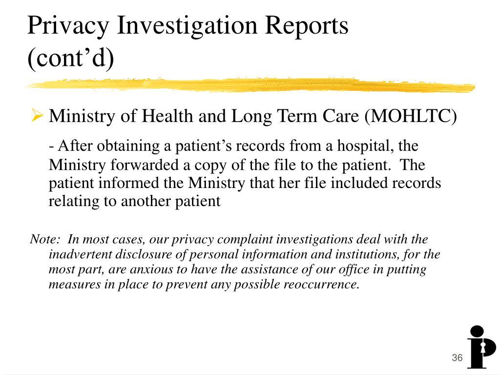 Privacy Investigation Reports (cont'd)