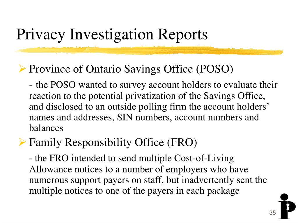 Privacy Investigation Reports