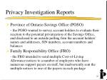 privacy investigation reports