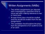 written assignments nabs