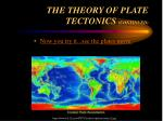 the theory of plate tectonics continued