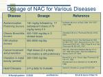 dosage of nac for various diseases