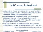 nac as an antioxidant