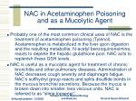 nac in acetaminophen poisoning and as a mucolytic agent