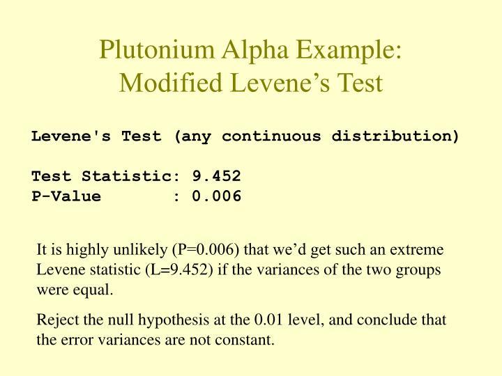 Plutonium Alpha Example: