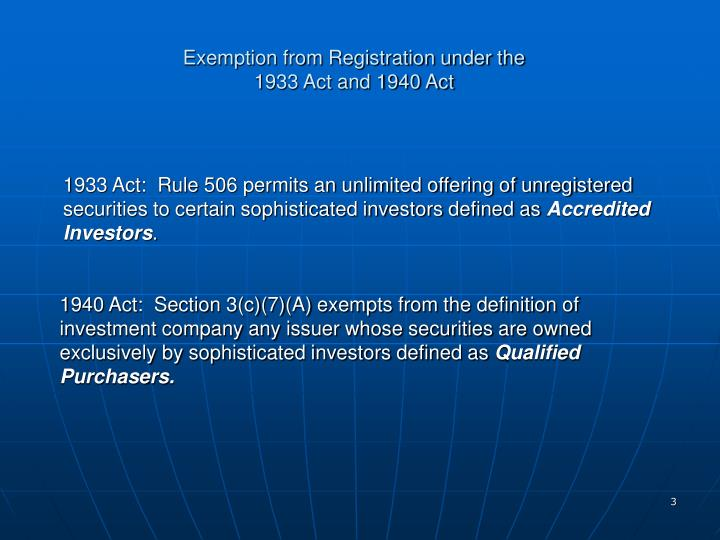 Exemption from Registration under the