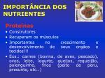import ncia dos nutrientes