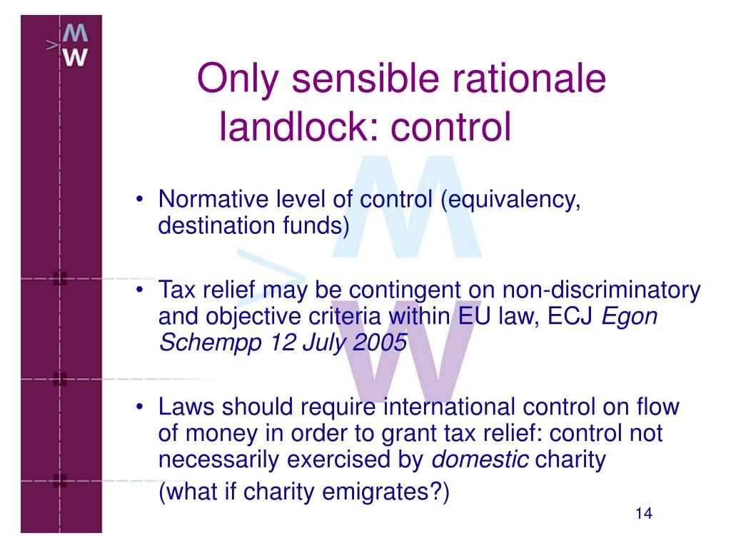 Normative level of control (equivalency, destination funds)