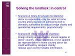 solving the landlock in control