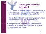 solving the landlock in control16