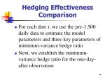 hedging effectiveness comparison