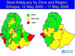 stool adequacy by zone and region ethiopia 12 may 2005 11 may 2006