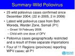 summary wild poliovirus