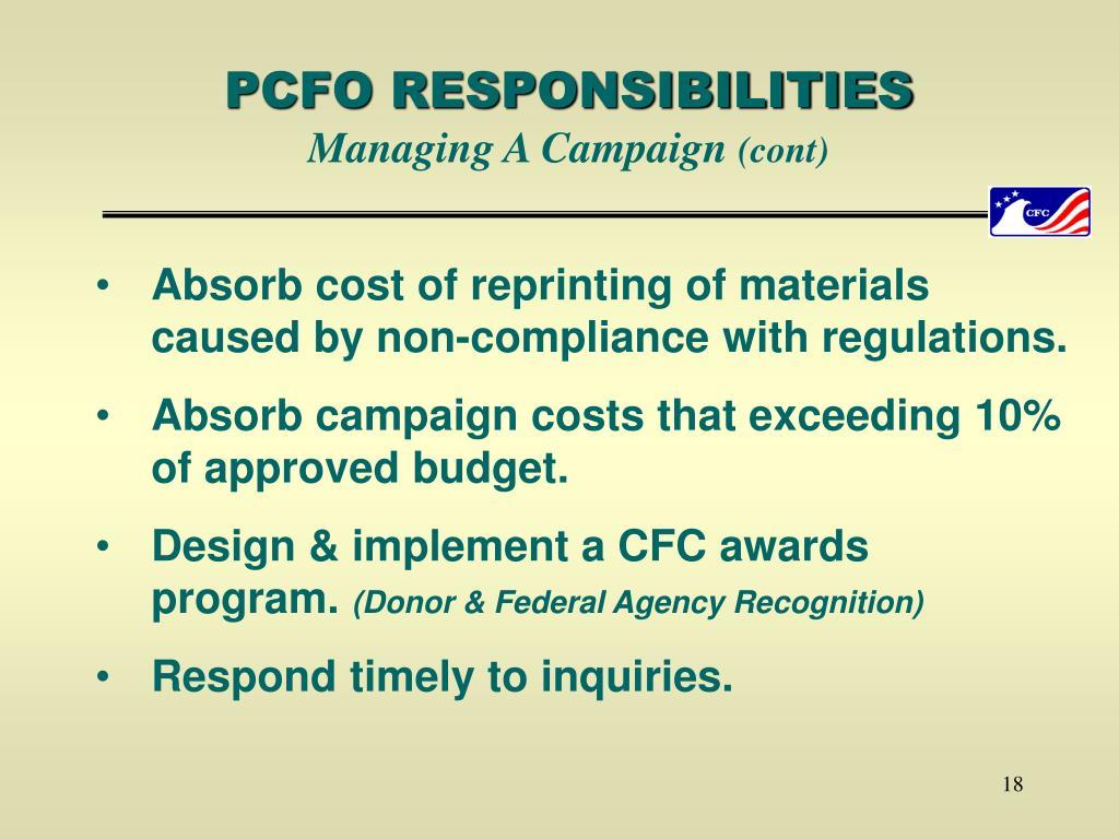 PCFO RESPONSIBILITIES