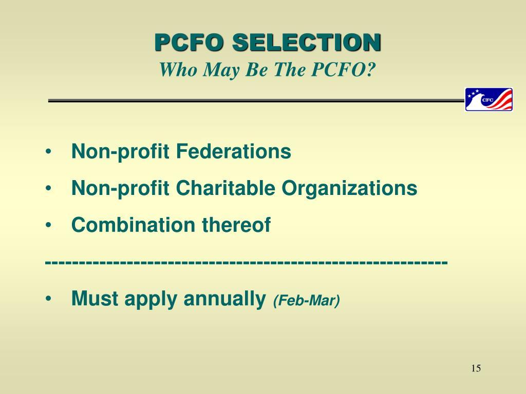 PCFO SELECTION