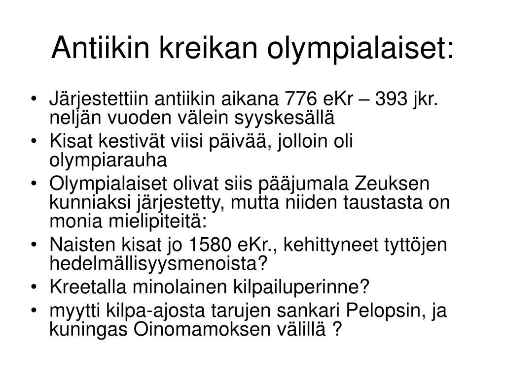 antiikin kreikan olympialaiset l.