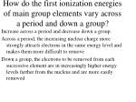 how do the first ionization energies of main group elements vary across a period and down a group