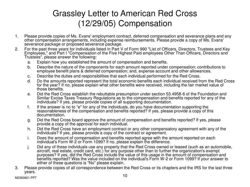 Grassley Letter to American Red Cross