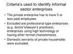 criteria s used to identify informal sector enterprises