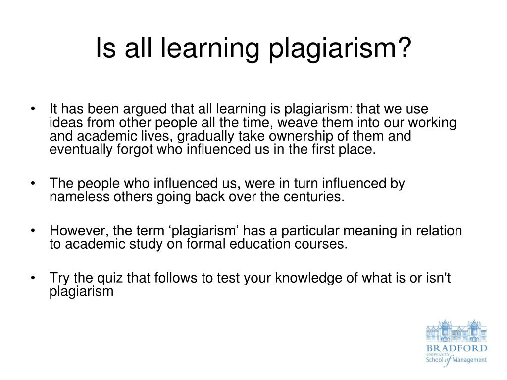 Is all learning plagiarism?