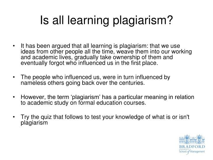 Is all learning plagiarism
