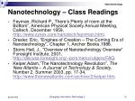 nanotechnology class readings